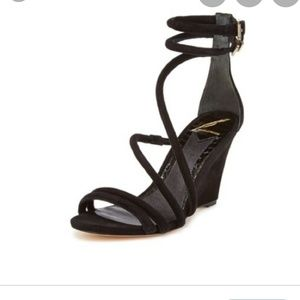BRIAN ATWOOD WEDGE SANDALS IN BLACK